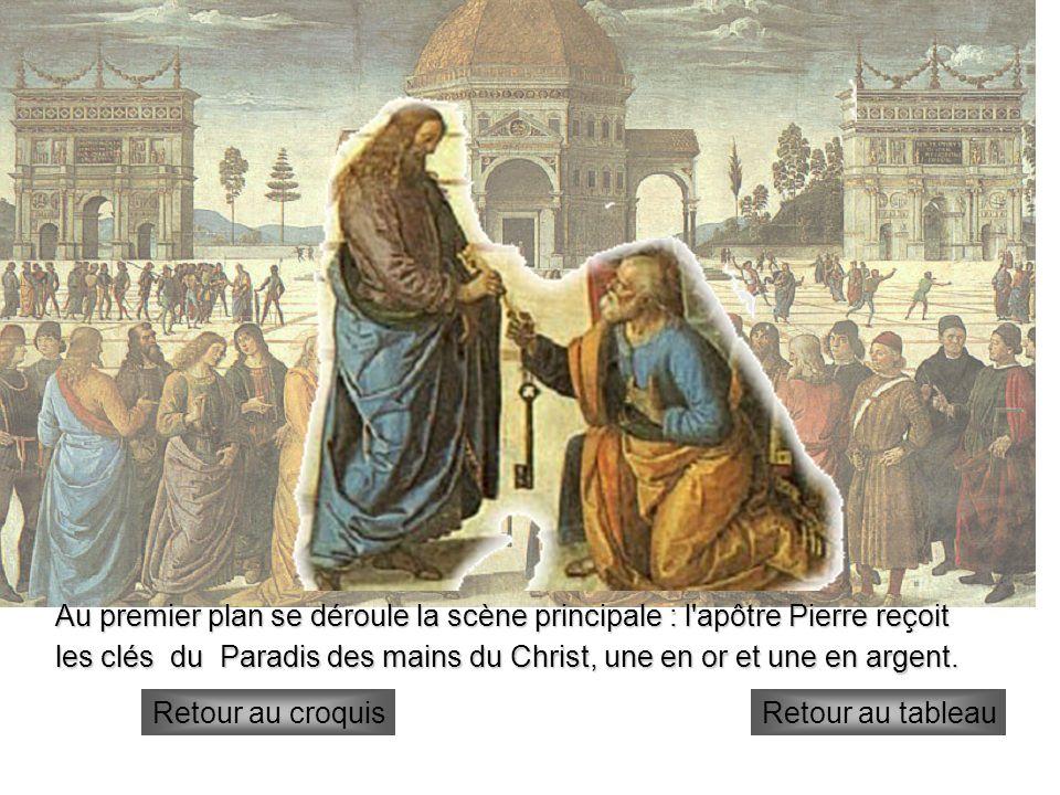 les clés du Paradis des mains du Christ, une en or et une en argent.