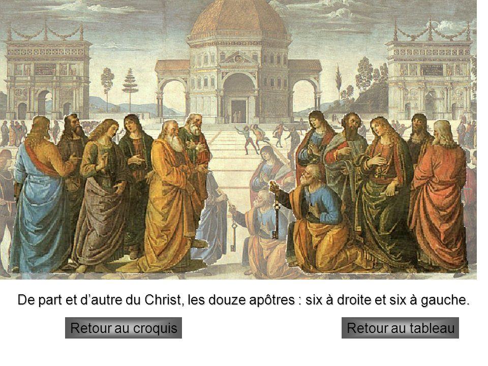 De part et d'autre du Christ, les douze apôtres : six à droite et six à gauche.