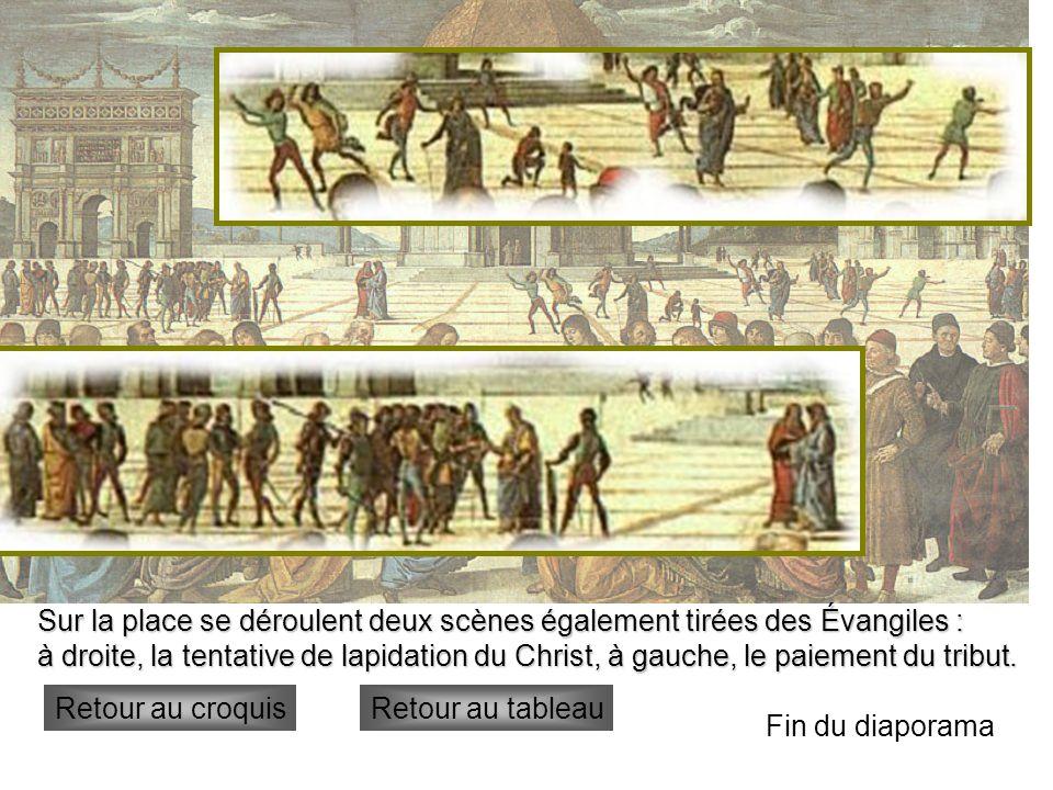 Sur la place se déroulent deux scènes également tirées des Évangiles :