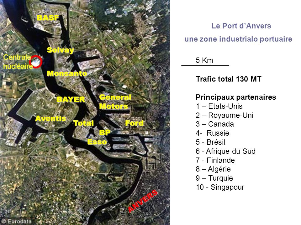 BASF Le Port d'Anvers. une zone industrialo portuaire. Solvay. Centrale. nucléaire. 5 Km. Monsanto.