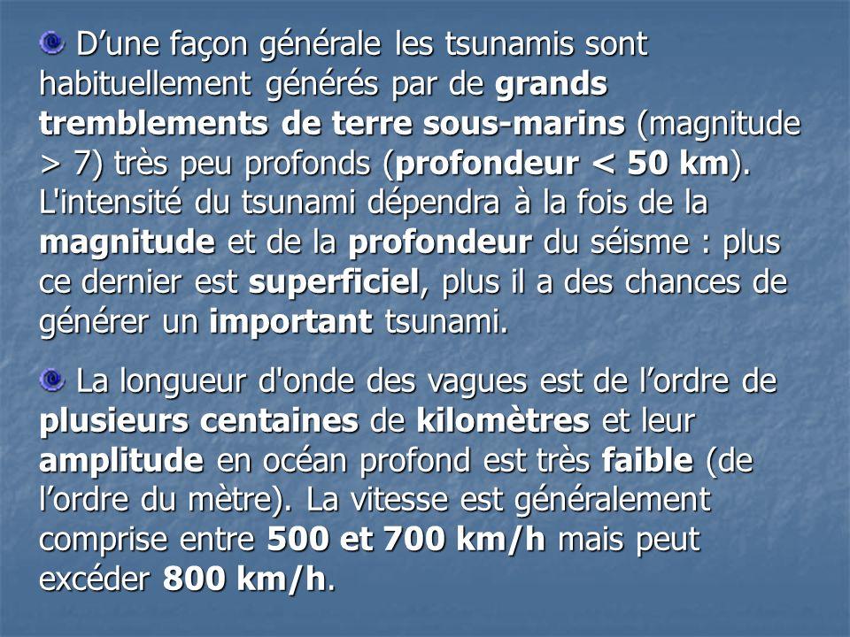 D'une façon générale les tsunamis sont habituellement générés par de grands tremblements de terre sous-marins (magnitude > 7) très peu profonds (profondeur < 50 km). L intensité du tsunami dépendra à la fois de la magnitude et de la profondeur du séisme : plus ce dernier est superficiel, plus il a des chances de générer un important tsunami.