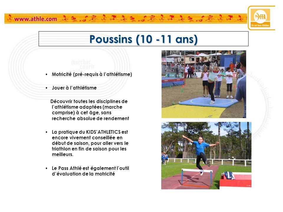 Poussins (10 -11 ans) Motricité (pré-requis à l'athlétisme)