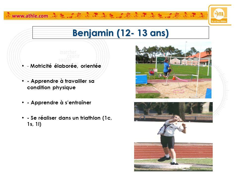 Benjamin (12- 13 ans) - Motricité élaborée, orientée