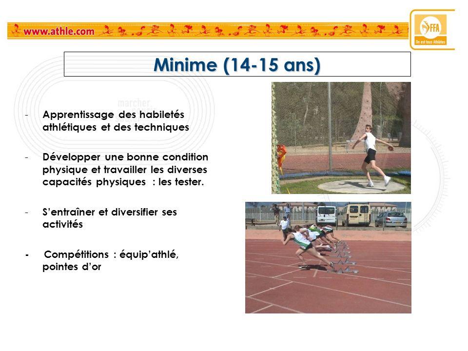 Minime (14-15 ans) Apprentissage des habiletés athlétiques et des techniques.