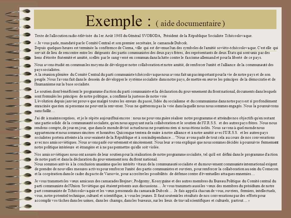 Exemple : ( aide documentaire )