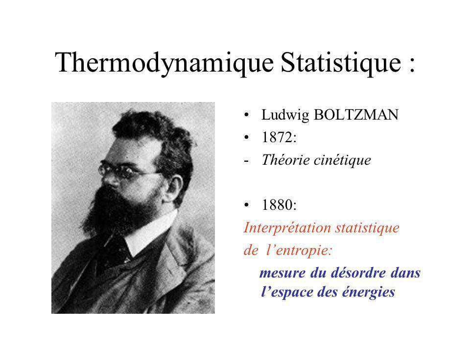 Thermodynamique Statistique :