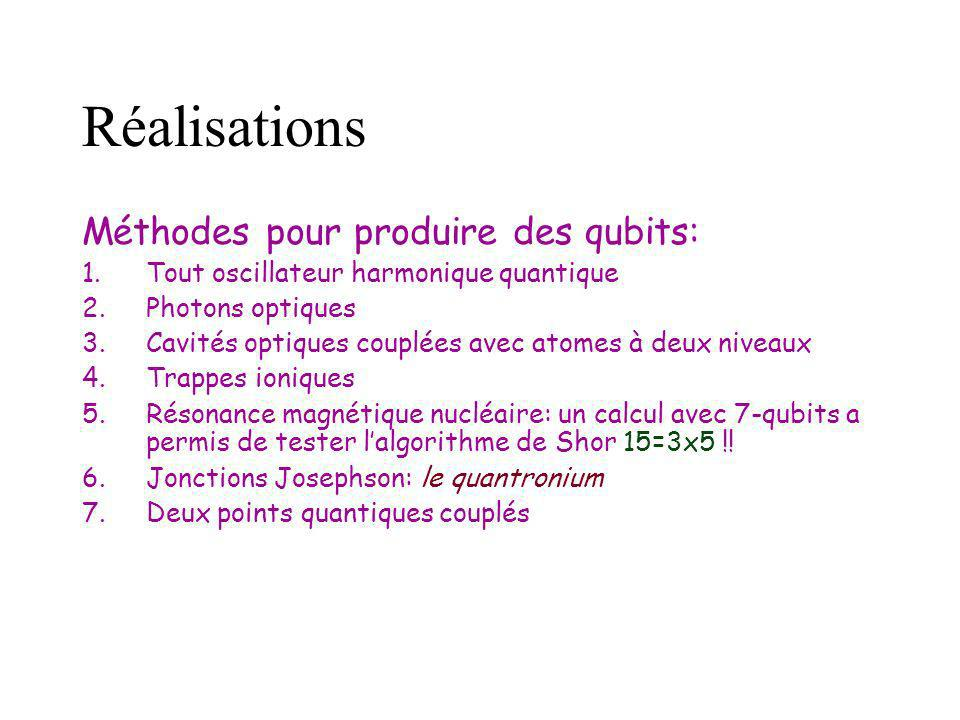 Réalisations Méthodes pour produire des qubits: