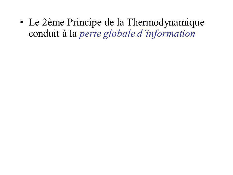 Le 2ème Principe de la Thermodynamique conduit à la perte globale d'information