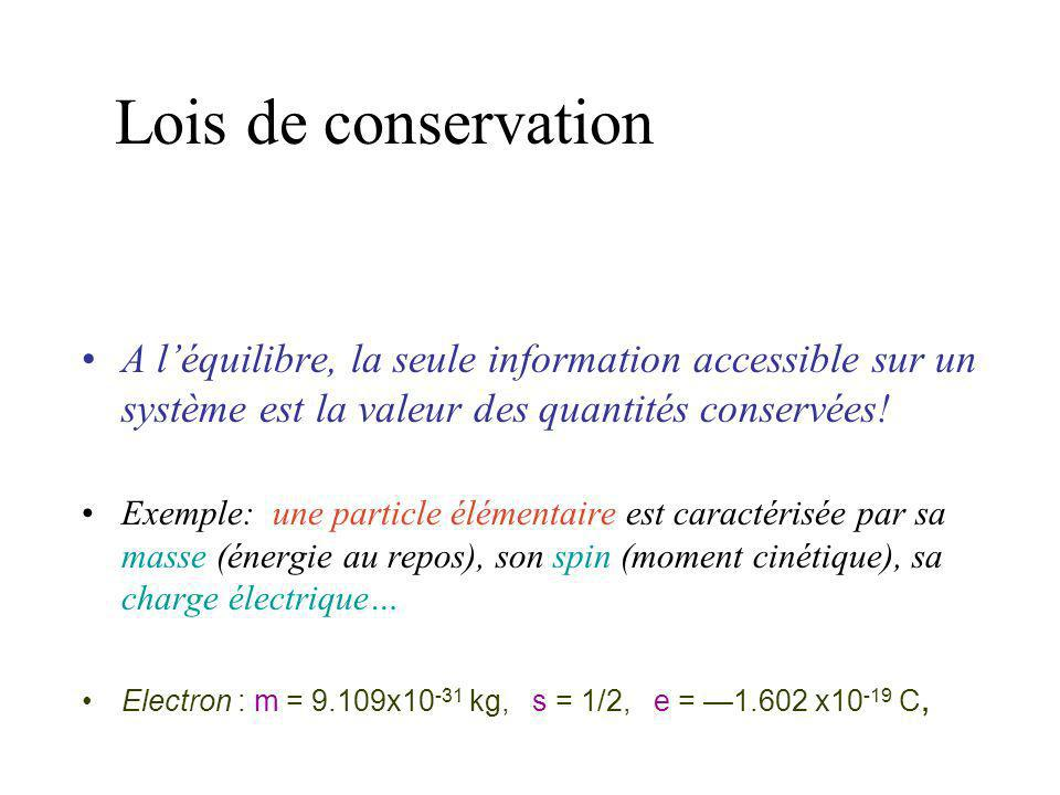 Lois de conservation A l'équilibre, la seule information accessible sur un système est la valeur des quantités conservées!