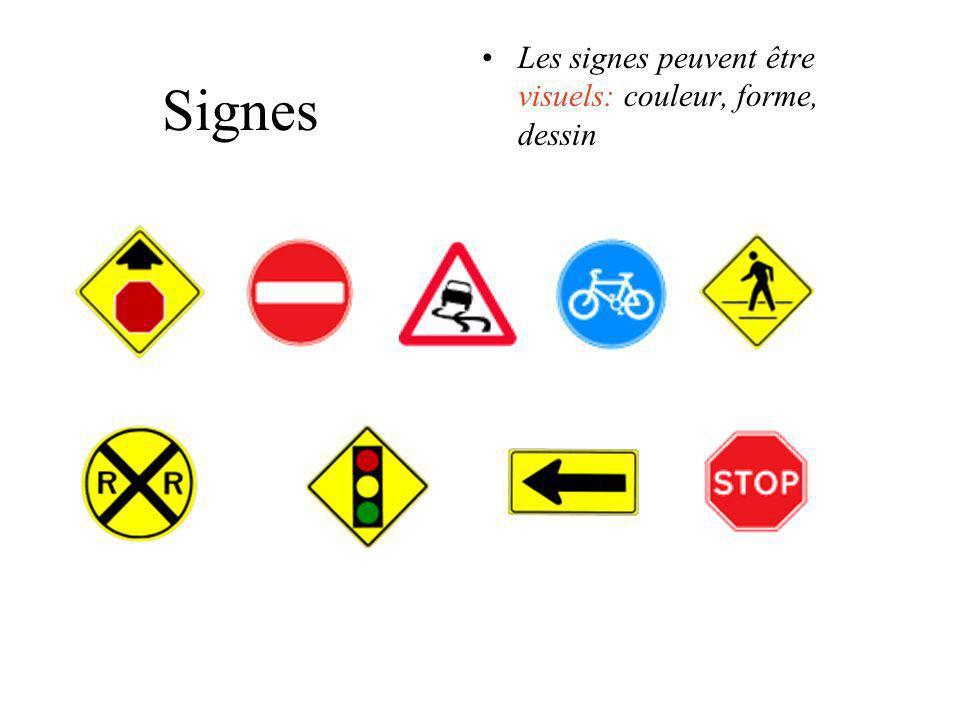 Les signes peuvent être visuels: couleur, forme, dessin