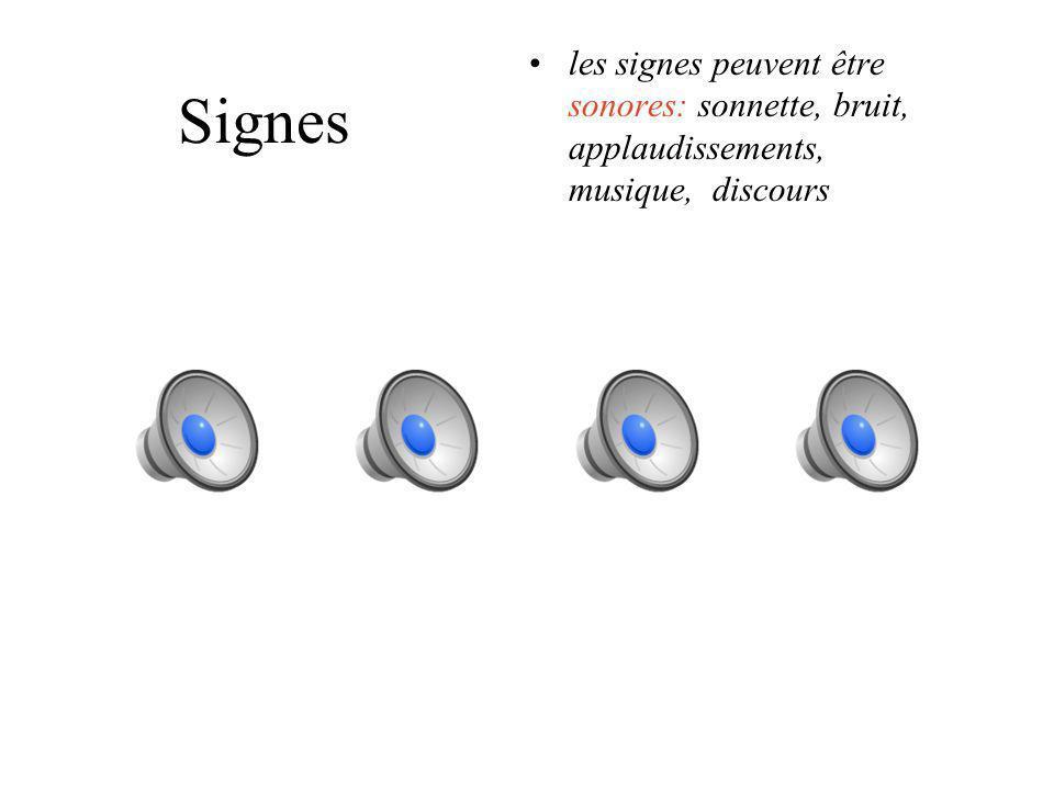 les signes peuvent être sonores: sonnette, bruit, applaudissements, musique, discours