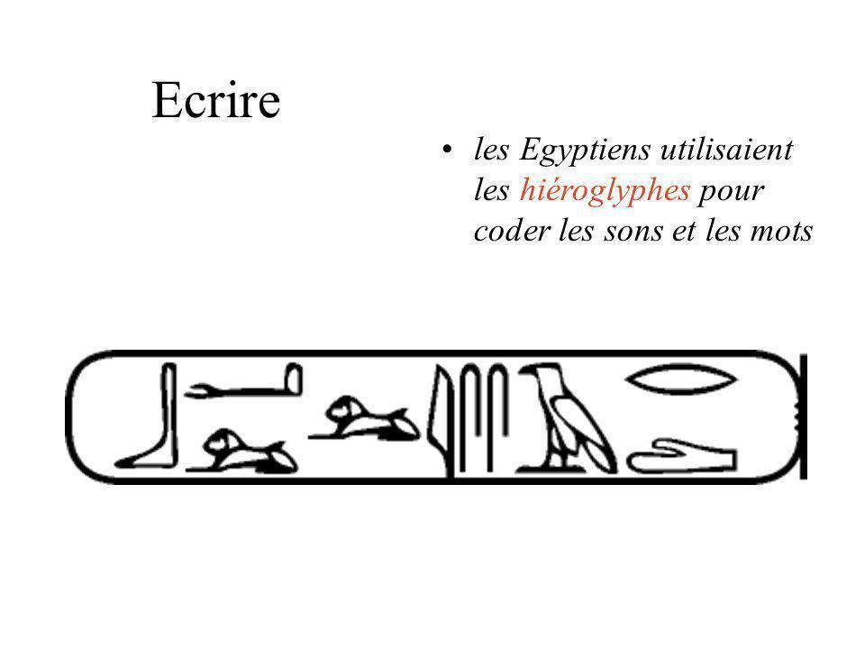 Ecrire les Egyptiens utilisaient les hiéroglyphes pour coder les sons et les mots