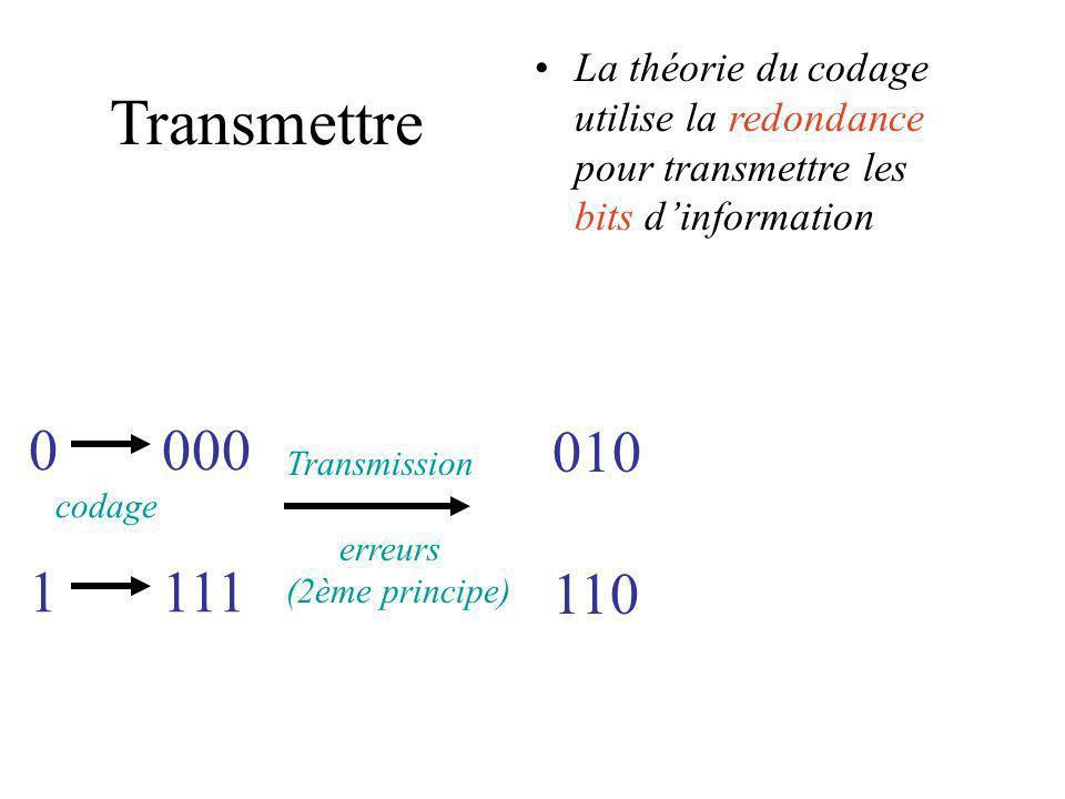 La théorie du codage utilise la redondance pour transmettre les bits d'information