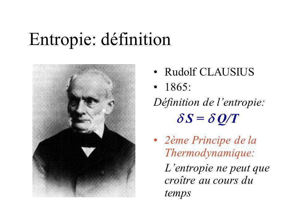 Entropie: définition Rudolf CLAUSIUS 1865: Définition de l'entropie: