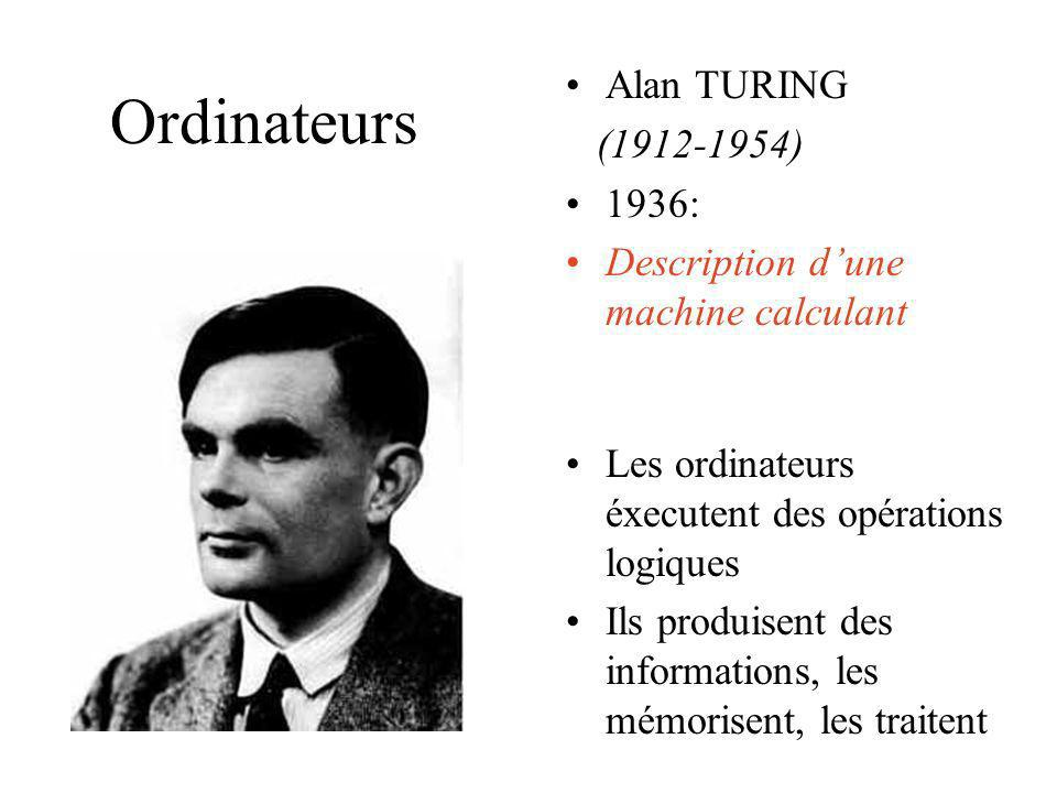 Ordinateurs Alan TURING (1912-1954) 1936: