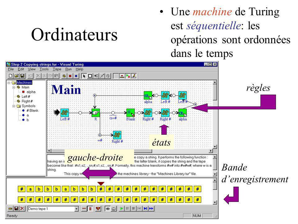 Une machine de Turing est séquentielle: les opérations sont ordonnées dans le temps