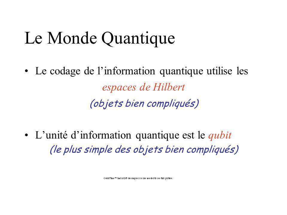 Le Monde Quantique Le codage de l'information quantique utilise les