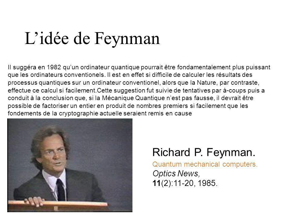 L'idée de Feynman Richard P. Feynman. Optics News, 11(2):11-20, 1985.
