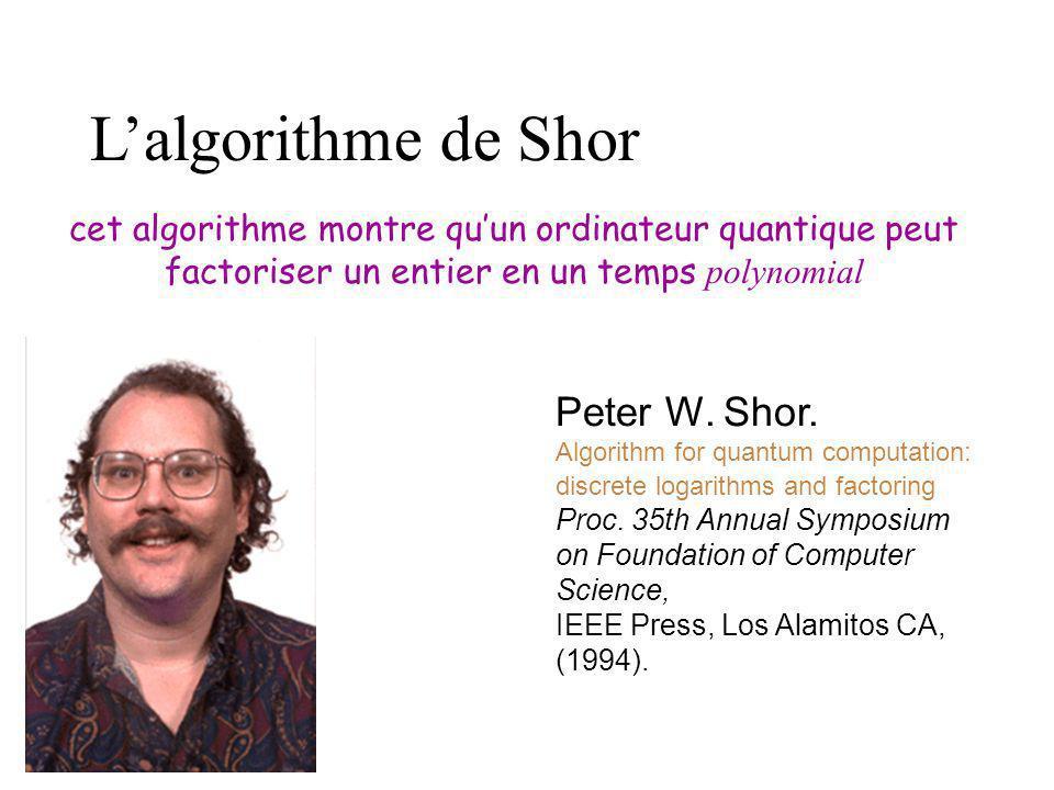 L'algorithme de Shor Peter W. Shor.