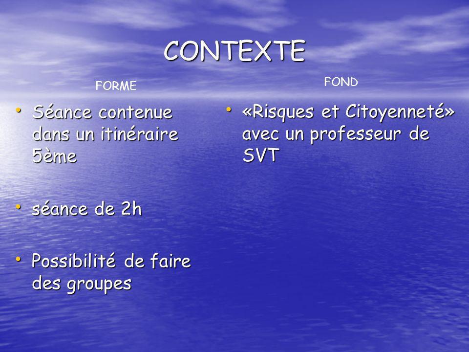 CONTEXTE Séance contenue dans un itinéraire 5ème