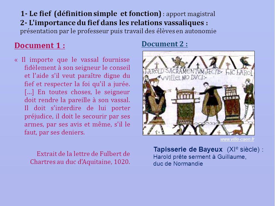 1- Le fief (définition simple et fonction) : apport magistral 2- L importance du fief dans les relations vassaliques : présentation par le professeur puis travail des élèves en autonomie