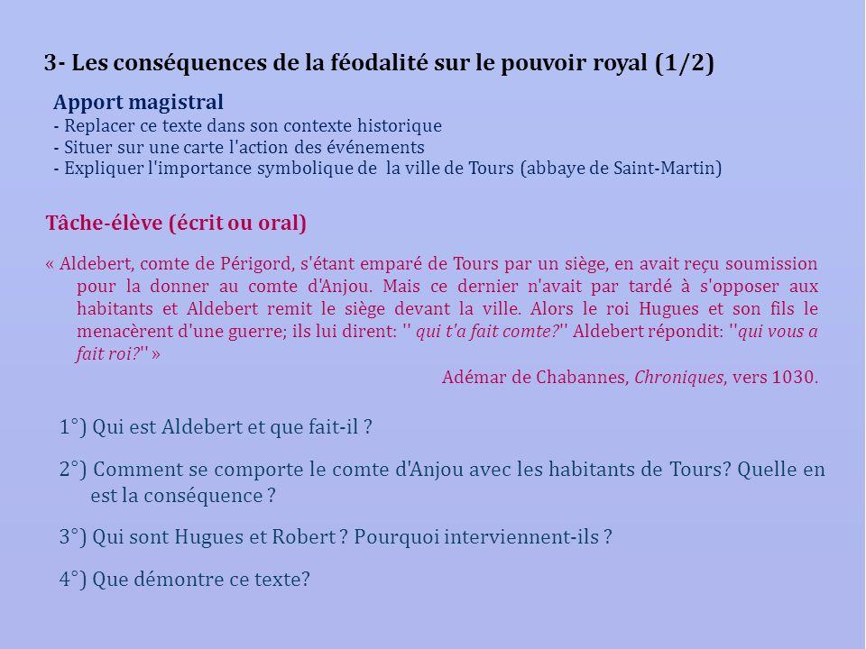 3- Les conséquences de la féodalité sur le pouvoir royal (1/2)