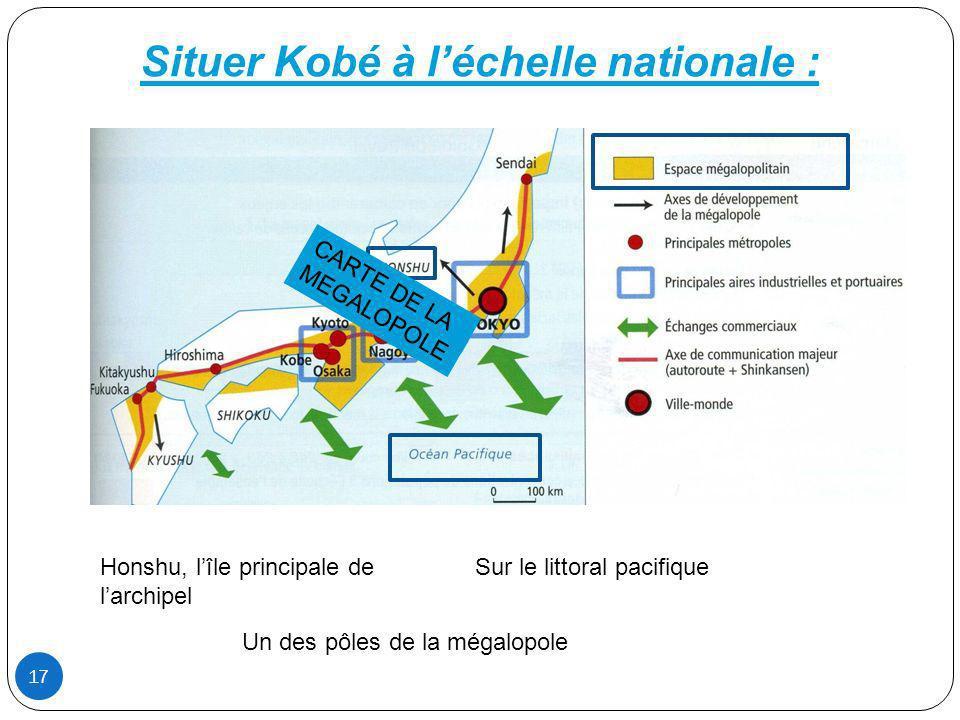 Situer Kobé à l'échelle nationale :