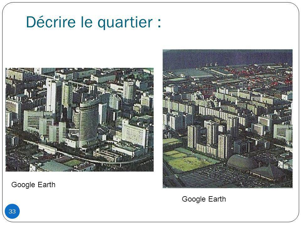 Décrire le quartier : Google Earth Google Earth