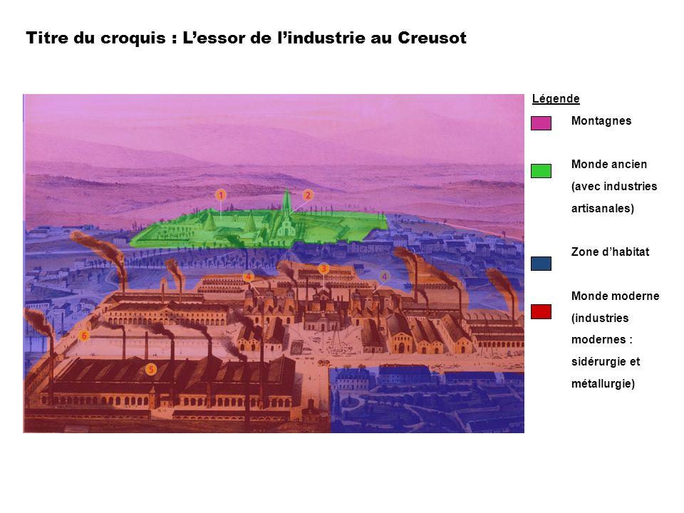 Titre du croquis : L'essor de l'industrie au Creusot