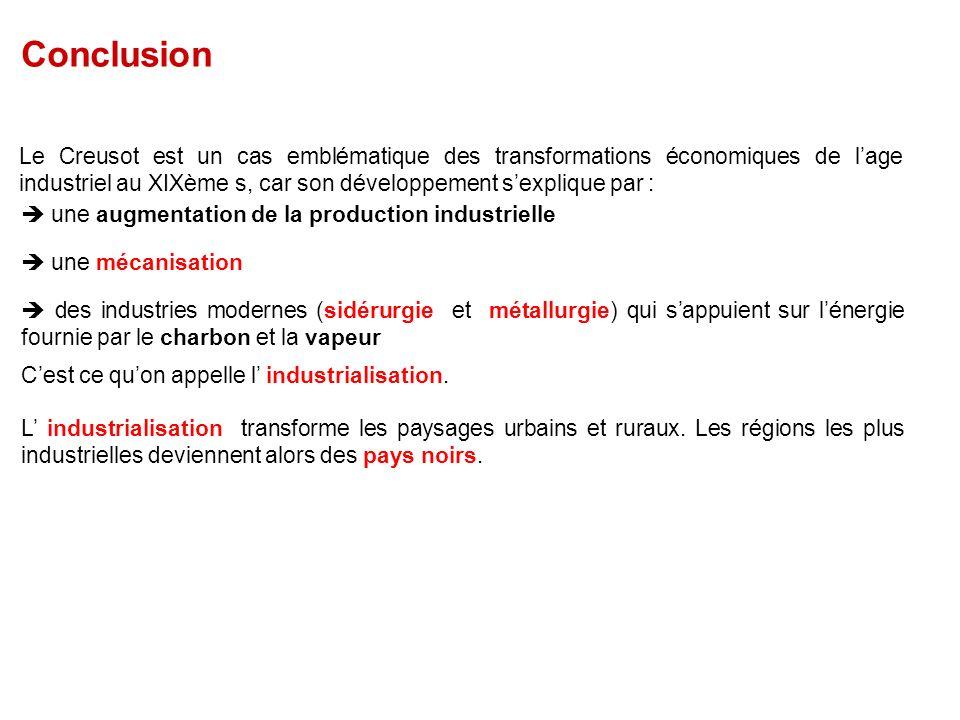 Conclusion Le Creusot est un cas emblématique des transformations économiques de l'age industriel au XIXème s, car son développement s'explique par :