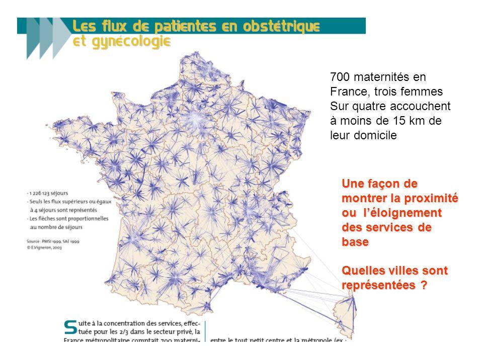 700 maternités en France, trois femmes. Sur quatre accouchent. à moins de 15 km de. leur domicile.