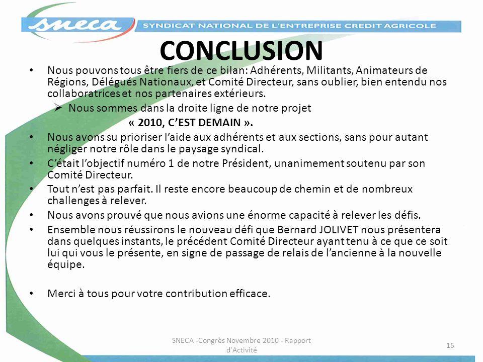 SNECA -Congrès Novembre 2010 - Rapport d Activité