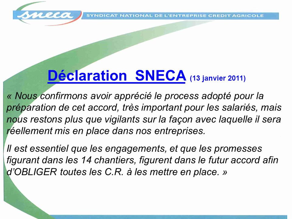 Déclaration SNECA (13 janvier 2011)