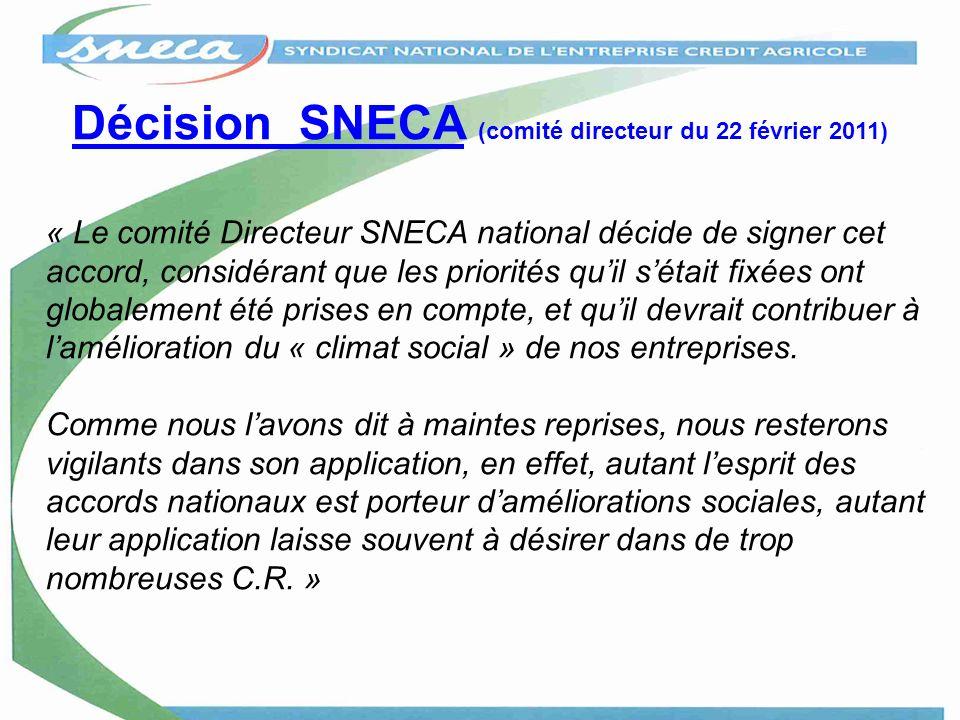 Décision SNECA (comité directeur du 22 février 2011)