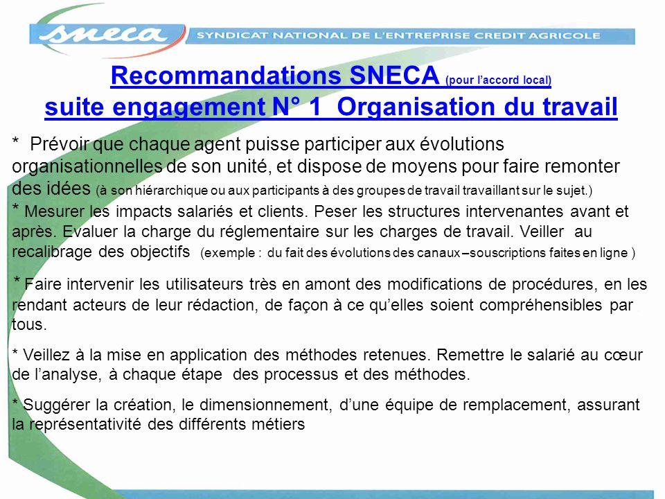 Recommandations SNECA (pour l'accord local) suite engagement N° 1 Organisation du travail