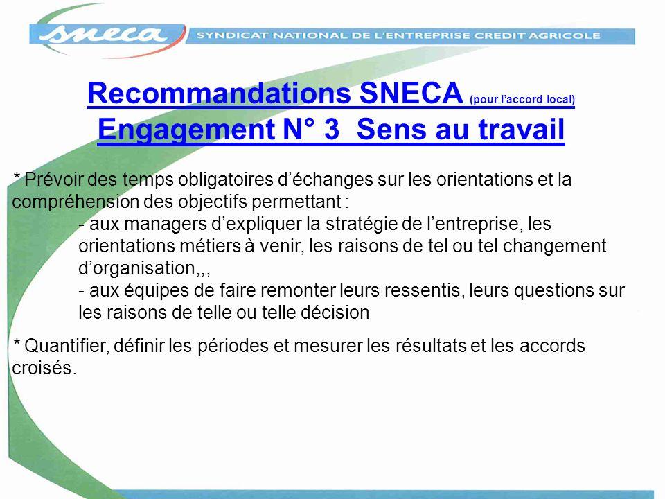 Recommandations SNECA (pour l'accord local) Engagement N° 3 Sens au travail