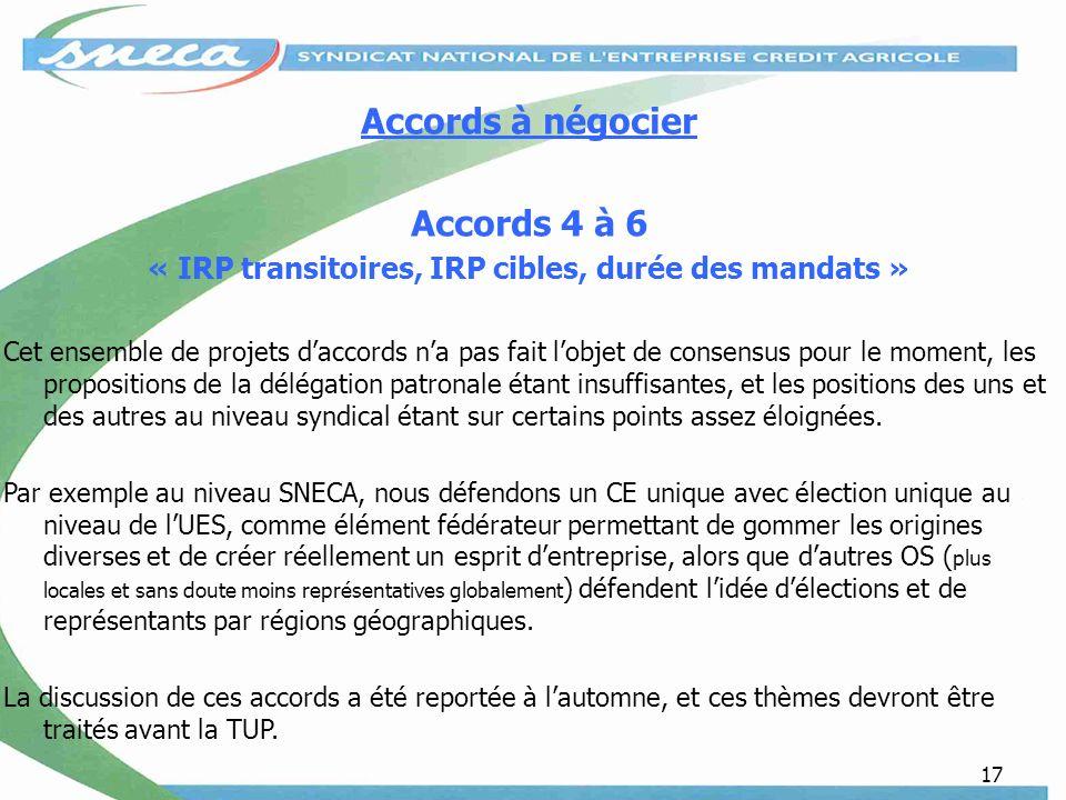 « IRP transitoires, IRP cibles, durée des mandats »