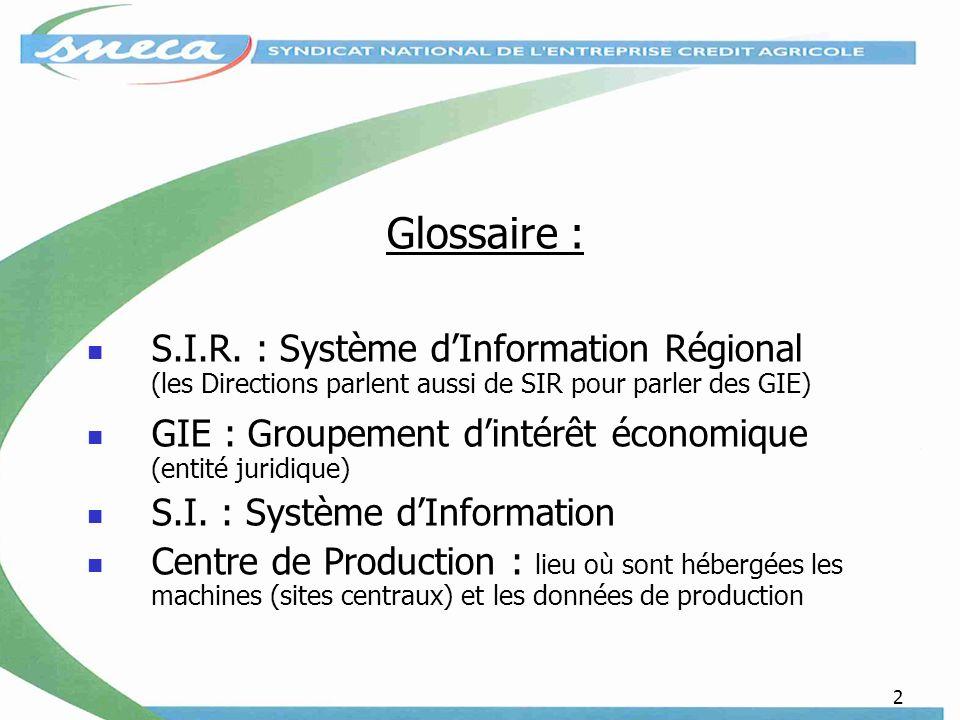 Glossaire : S.I.R. : Système d'Information Régional (les Directions parlent aussi de SIR pour parler des GIE)