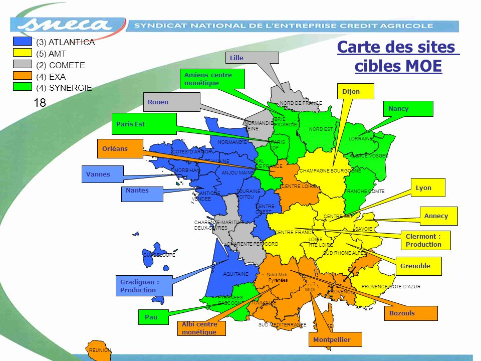 Carte des sites cibles MOE