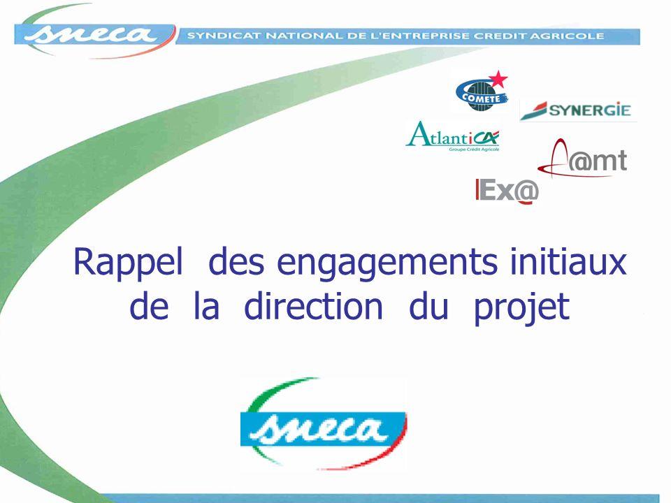 Rappel des engagements initiaux de la direction du projet