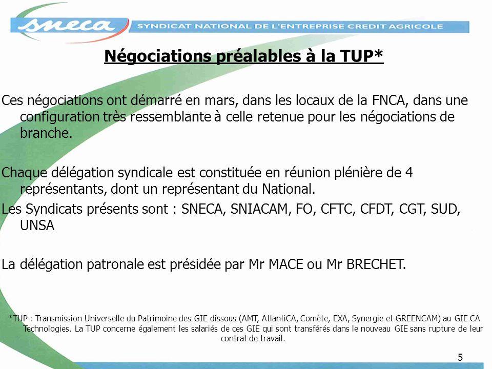 Négociations préalables à la TUP*
