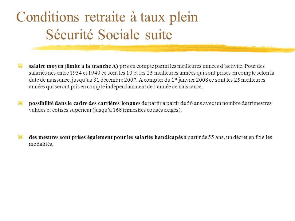 Conditions retraite à taux plein Sécurité Sociale suite