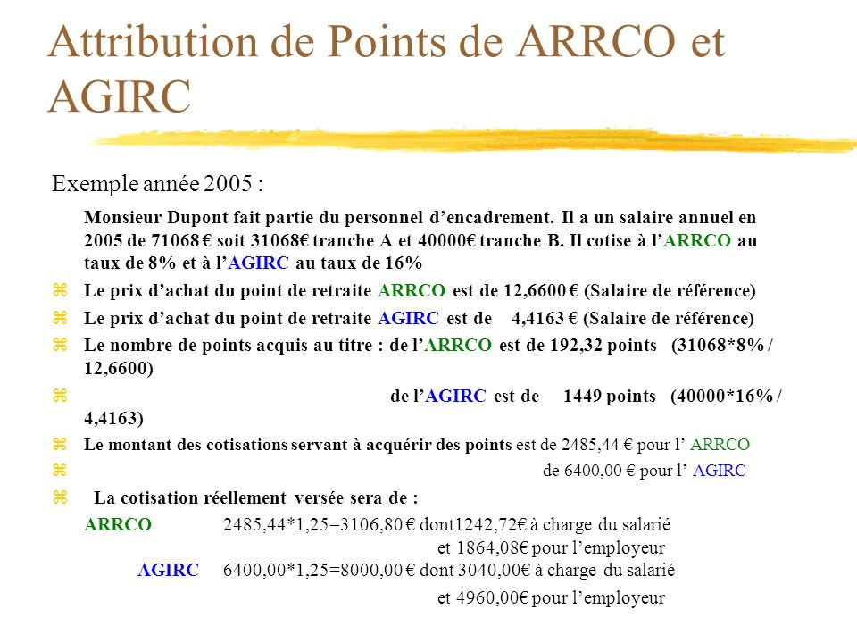 Attribution de Points de ARRCO et AGIRC