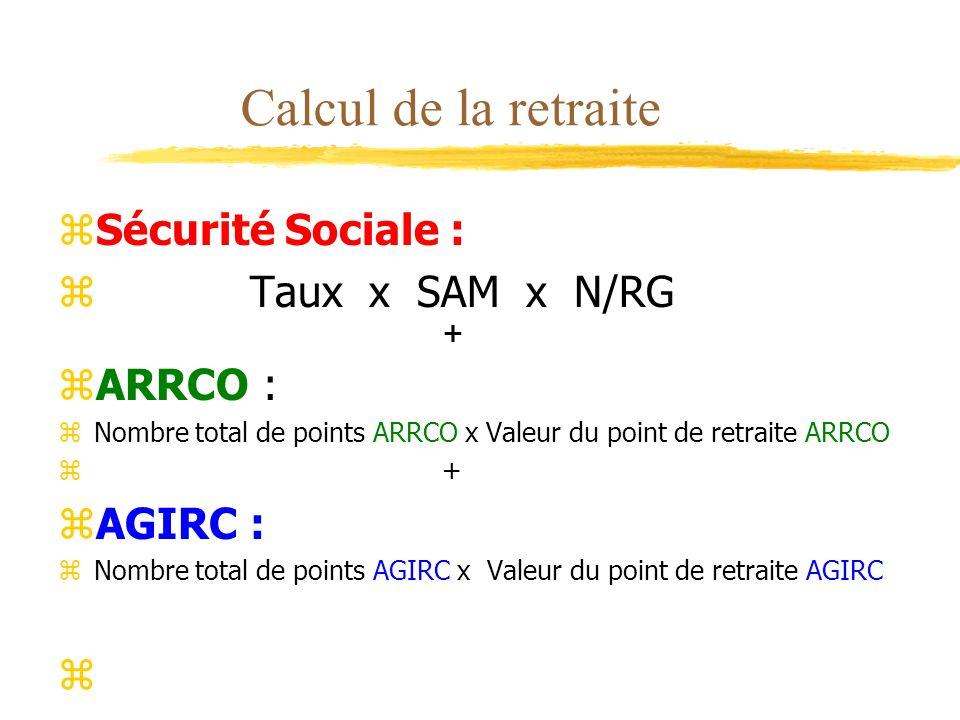 Calcul de la retraite Sécurité Sociale : Taux x SAM x N/RG + ARRCO :