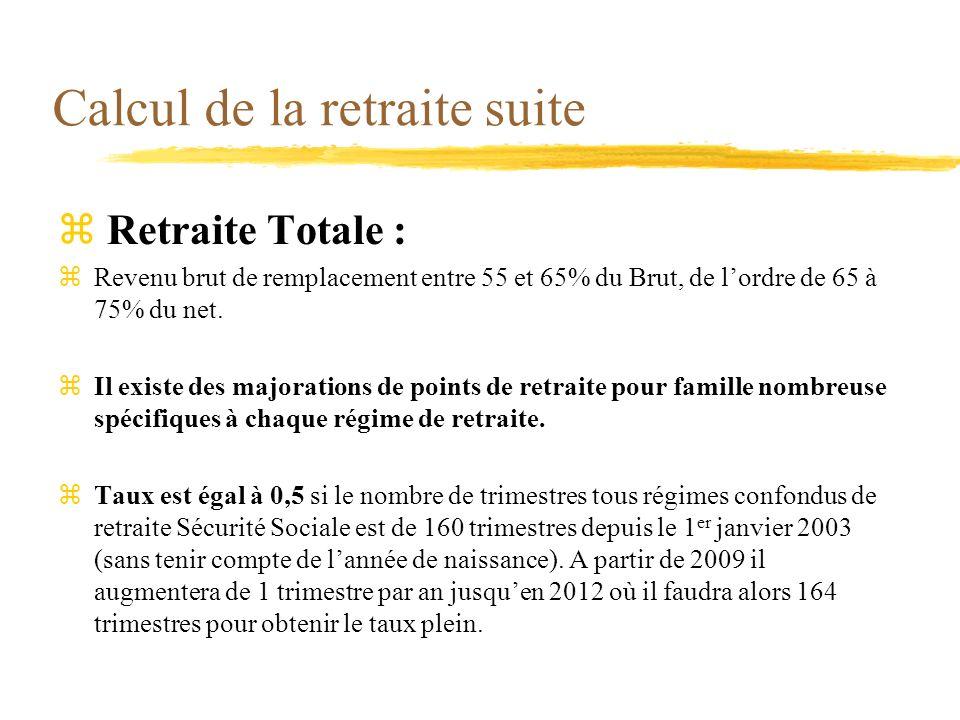 Calcul de la retraite suite