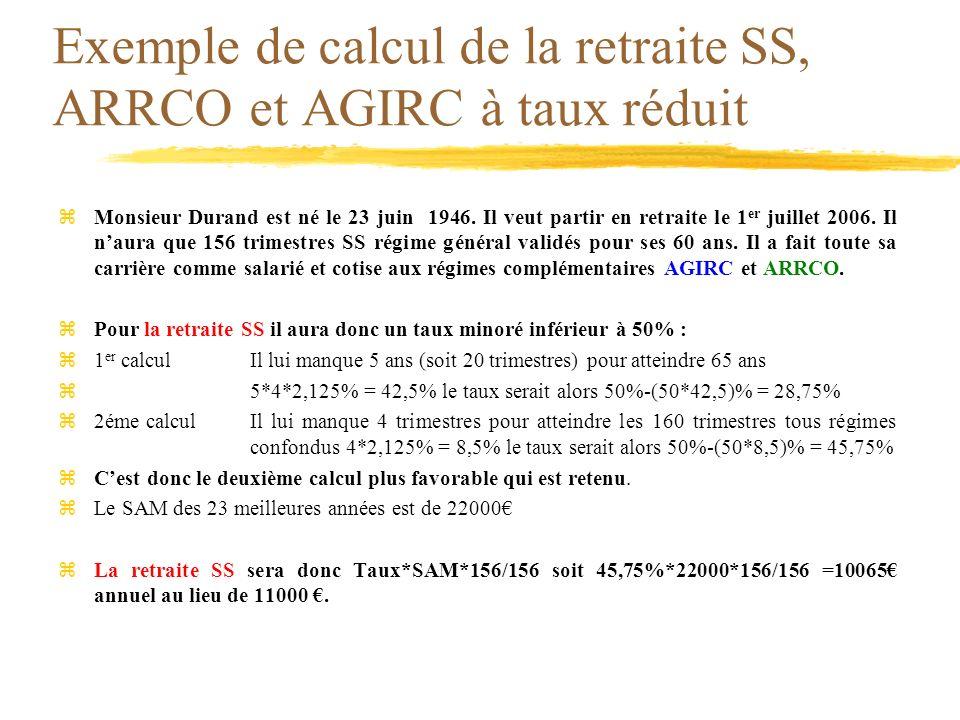 Exemple de calcul de la retraite SS, ARRCO et AGIRC à taux réduit