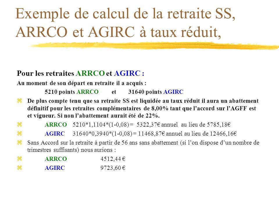 Exemple de calcul de la retraite SS, ARRCO et AGIRC à taux réduit,