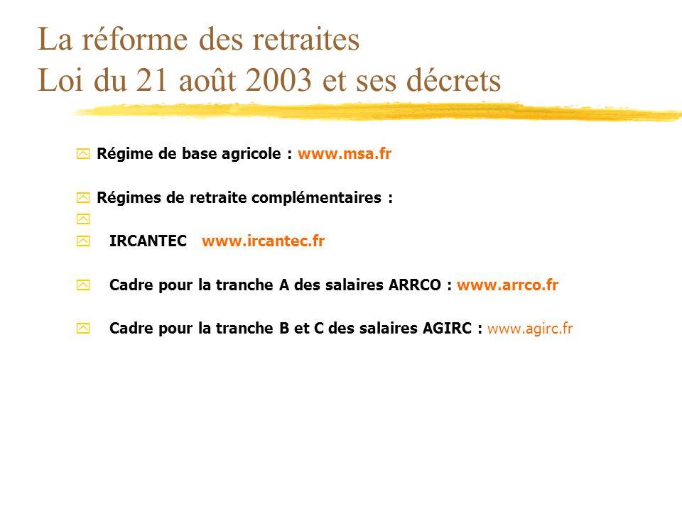 La réforme des retraites Loi du 21 août 2003 et ses décrets