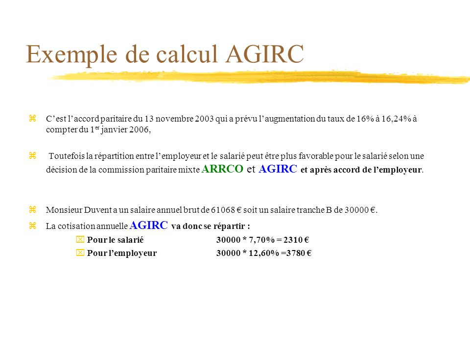 Exemple de calcul AGIRC