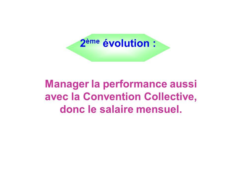 2ème évolution : Manager la performance aussi avec la Convention Collective, donc le salaire mensuel.